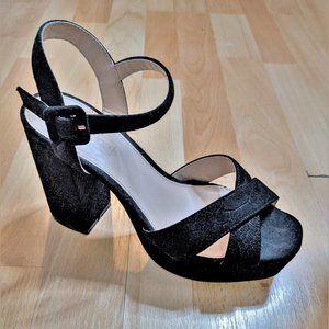 Topshop | Embossed suede platform heels